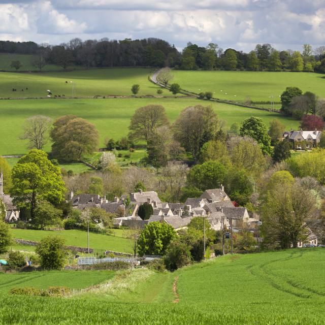 """Upper Slaughter, Cotswolds, Gloucestershire, England, United Kingdom, Europe"" stock image"