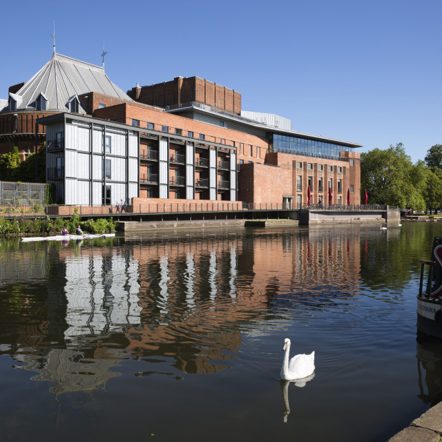 """The Swan Theatre and Royal Shakespeare Theatre on River Avon,..."" stock image"