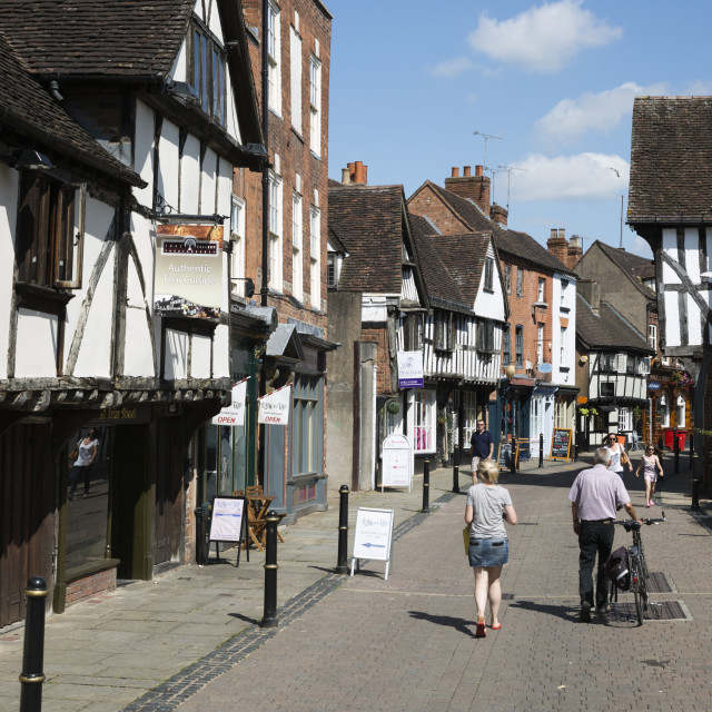 """Old half-timbered buildings, Friar Street, Worcester, Worcestershire,..."" stock image"