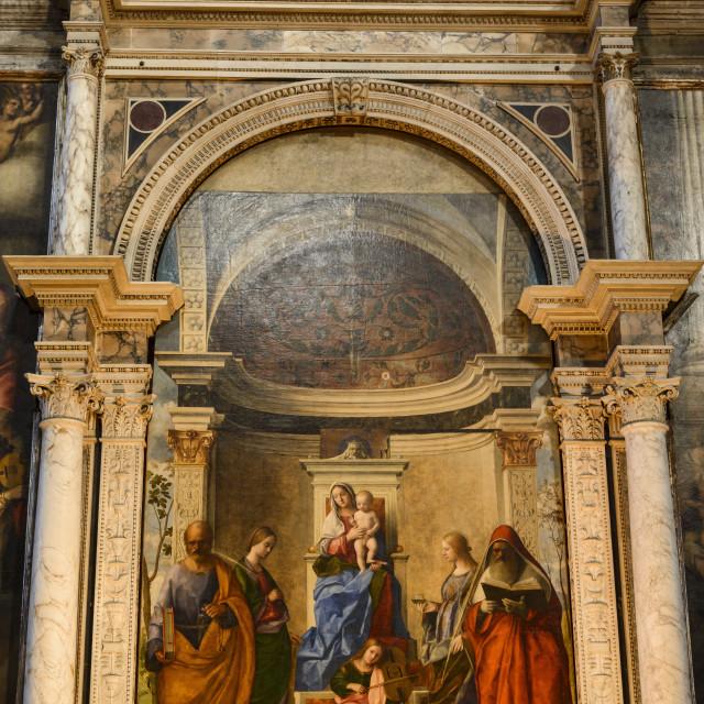 """""""San Zaccaria Altarpiece by Giovanni Bellini, San Zaccaria church, Venice,..."""" stock image"""