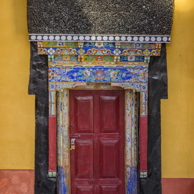 """""""Intricate decorations on a doorway at Thiksey monastery (gompa), Ladakh,..."""" stock image"""