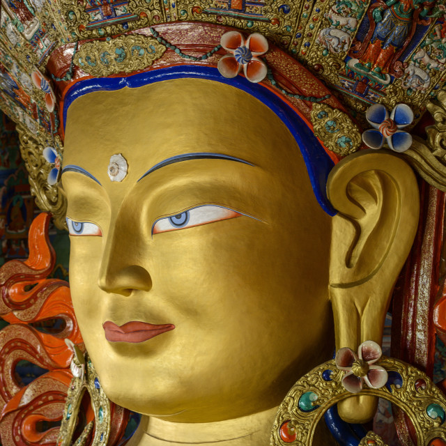 """""""Detail of the statue of the Maitreya (future Buddha) installed to commemorate..."""" stock image"""