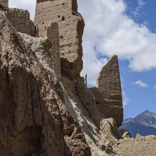 """The 16th and 17th century fort and monastery at Basgo, Ladakh, Himalayas,..."" stock image"
