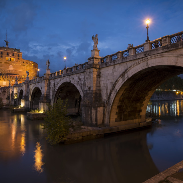 """Pont Sant' Angelo and Castel Sant' Angelo at dusk, Rome, Lazio, Italy, Europe"" stock image"