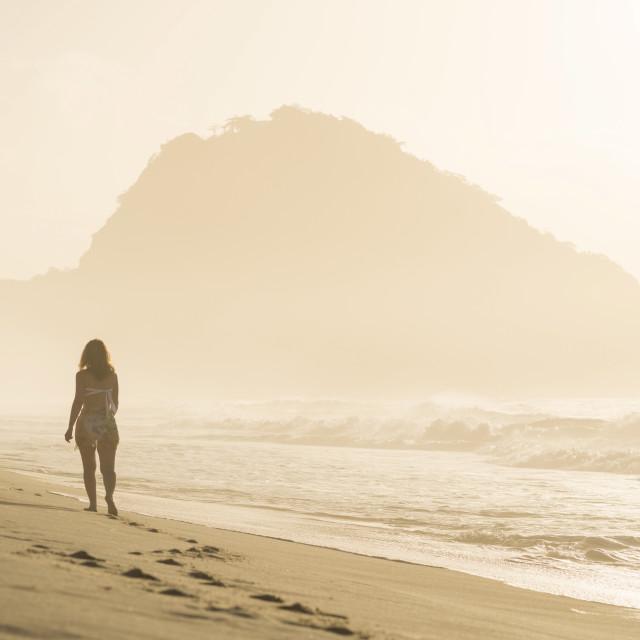 """Copacabana Beach at dawn, Rio de Janeiro, Brazil, South America"" stock image"