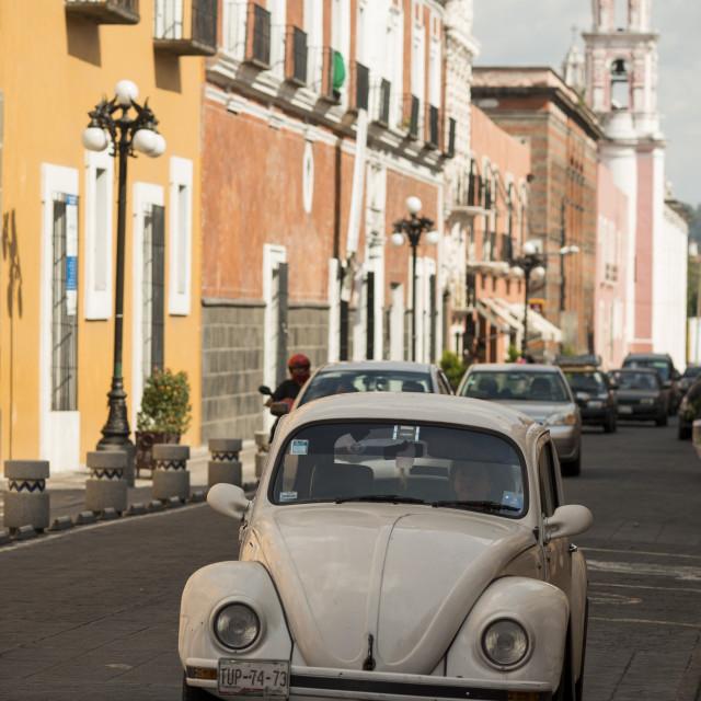 """""""Street scene, Puebla City, Puebla, Mexico, North America"""" stock image"""