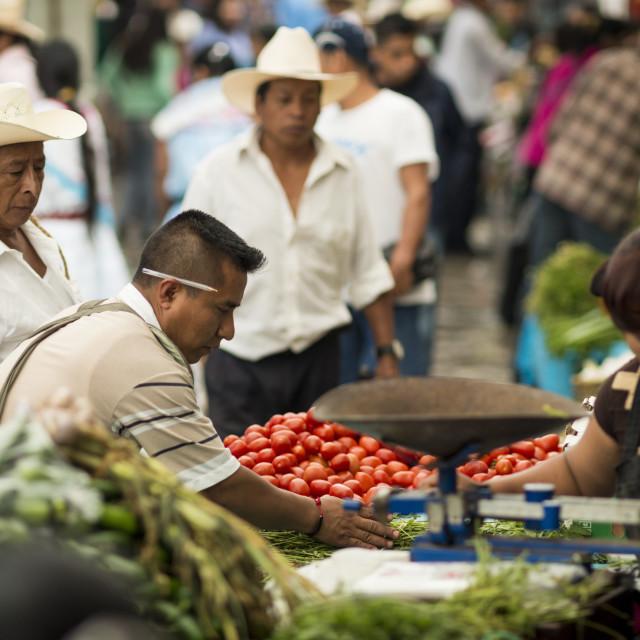 """Sunday Market (Tianguis) at Cuetzalan, Puebla State, Mexico, North America"" stock image"