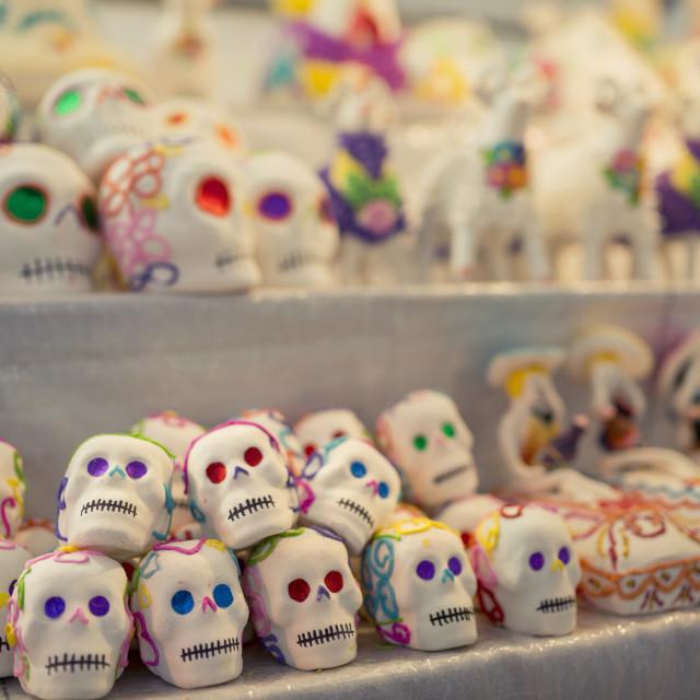 """""""Dia de los Muertos (Day of the Dead) Souvenirs, San Miguel de Allende,..."""" stock image"""