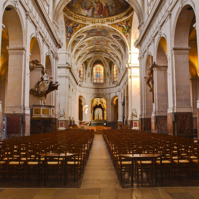 """The interior of L'Eglise Saint Roch in Paris, France, Europe"" stock image"