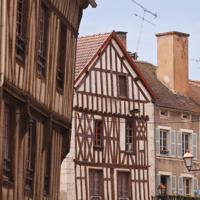 """""""Half timbered houses in the village of Noyers sur Serein in Yonne, Burgundy,..."""" stock image"""