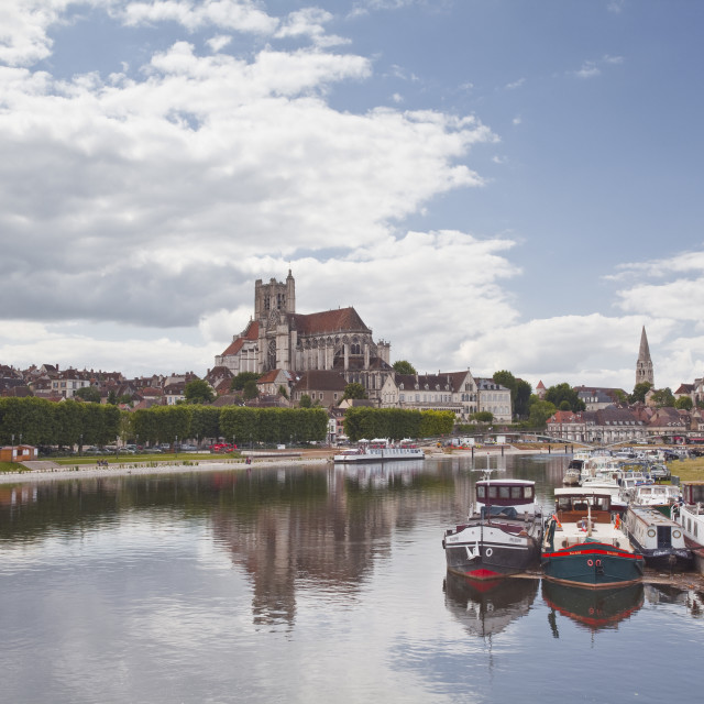 """The cathedral and town of Auxerre on the River Yonne, Burgundy, France, Europe"" stock image"