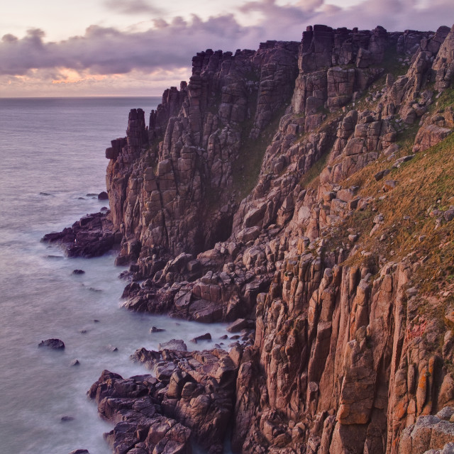 """The rocky Cornish coastline near to Land's End, Cornwall, England, United..."" stock image"