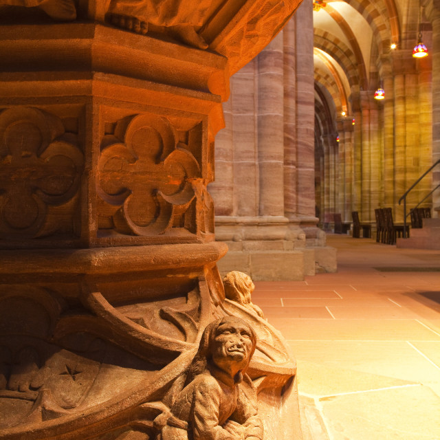 """""""The font in Basel Munster(Minster) cathedral, Basel, Switzerland, Europe"""" stock image"""