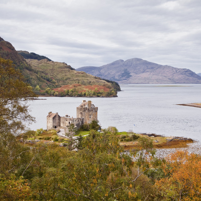 """Eilean Donan castle and the waters of Loch Duich, Highlands, Scotland, United..."" stock image"