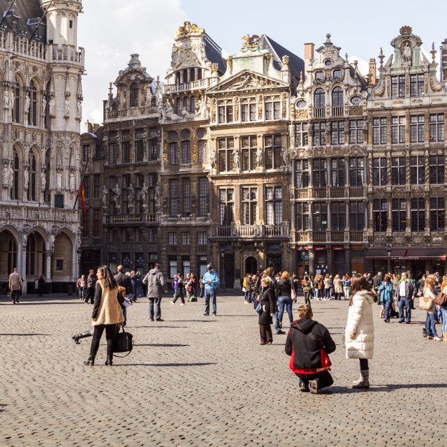 """Guildhall facades in the Grand Place or Grote Markt."" stock image"