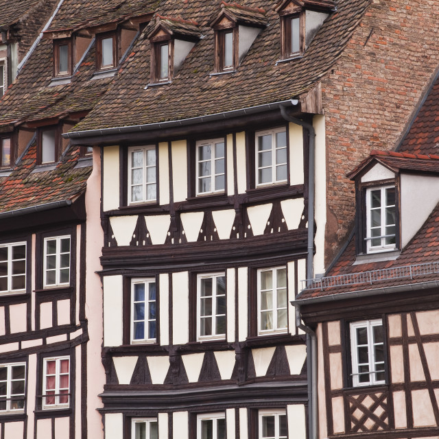 """Half-timbered houses in La Petite France, Grande Ile, UNESCO World Heritage..."" stock image"
