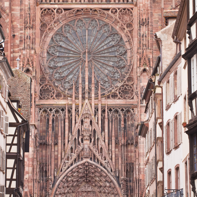 """""""Rue Merciere and Strasbourg Cathedral, Strasbourg, Bas-Rhin, Alsace, France,..."""" stock image"""