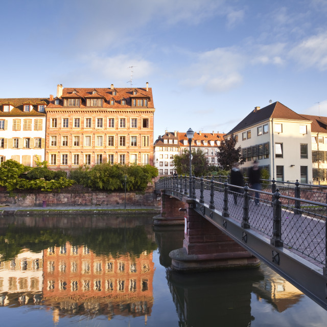 """""""Buildings reflected in the River Ill, Strasbourg, Bas-Rhin, Alsace, France,..."""" stock image"""