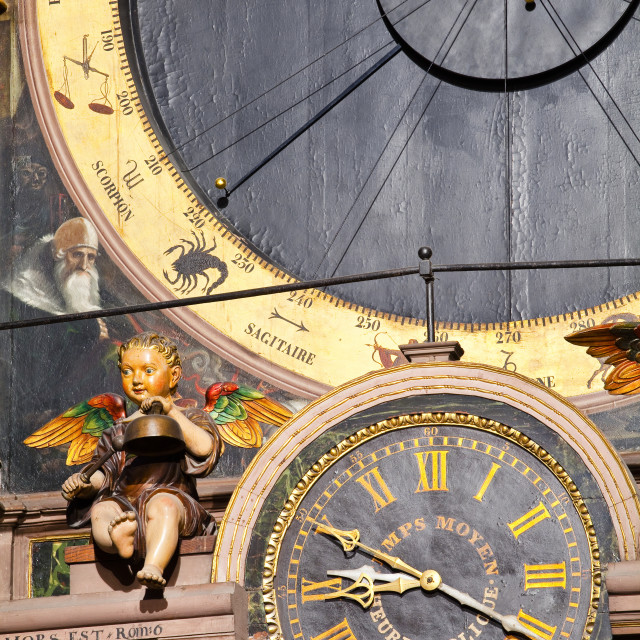 """""""The astronomical clock inside Strasbourg cathedral, Strasbourg, Bas-Rhin,..."""" stock image"""