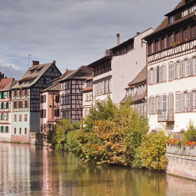 """Half timbered houses reflecting in the River Ill in La Petite France, Grande..."" stock image"