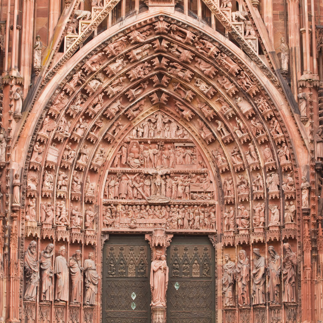 """""""Detail of the tympanum on Notre Dame de Strasbourg Cathedral, Strasbourg,..."""" stock image"""
