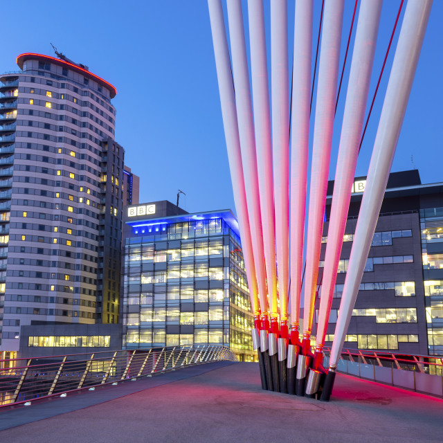 """""""Media City footbridge and MediaCity UK complex at Salford Quays, Manchester,..."""" stock image"""