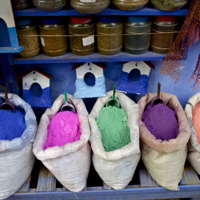 """""""Bag of powdered pigments to make paint, Chefchaouen, Morocco, North Africa,..."""" stock image"""