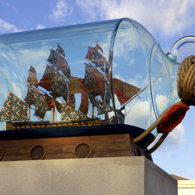 """Ship in a bottle at the Maritime Museum, Greenwich, London, England, United..."" stock image"