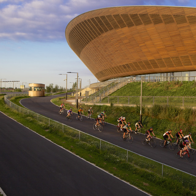 """""""Cyclists at The Olympic Velodrome in the Queen Elizabeth Olympic Park,..."""" stock image"""