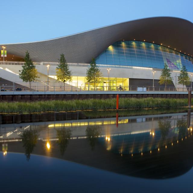 """Aquatics Centre in the 2012 London Olympic Park, Stratford, London, England,..."" stock image"