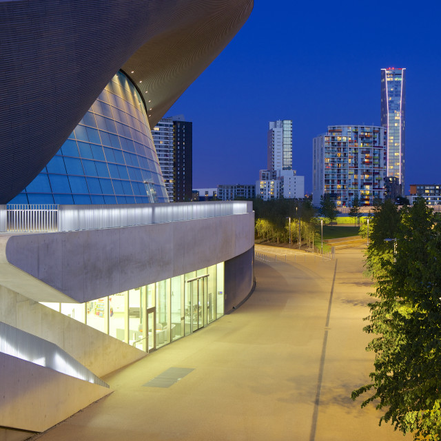 """""""Aquatics Centre at night in the 2012 London Olympic Park, Stratford, London,..."""" stock image"""