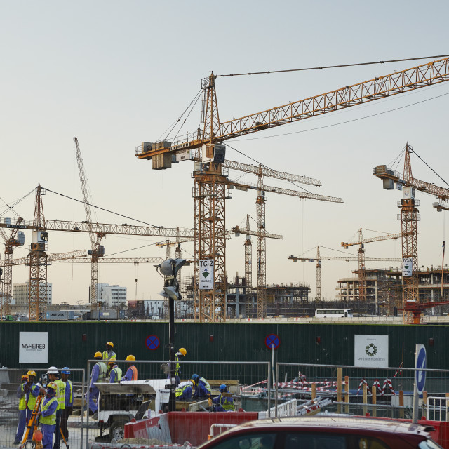 """""""Msheireb Downtown Doha construction site. A project setting in place a..."""" stock image"""