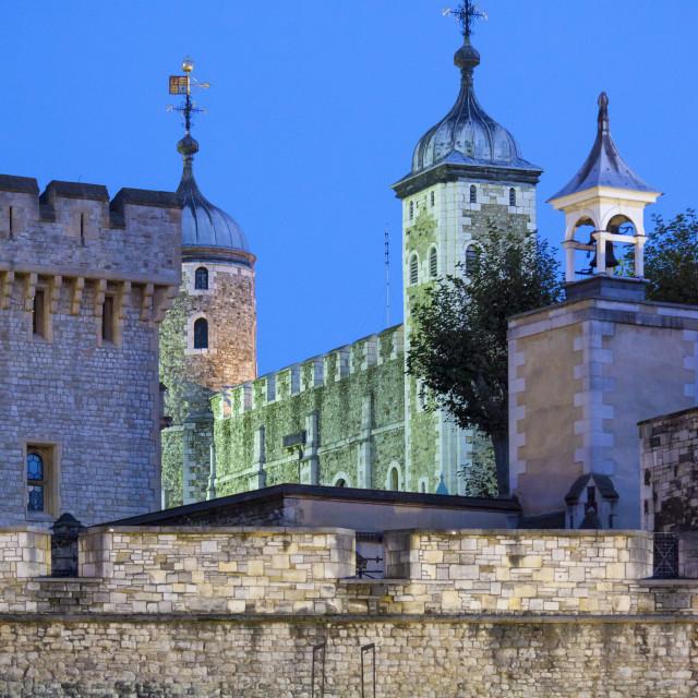 """The Tower of London illuminated at night, UNESCO World Heritage Site, London,..."" stock image"