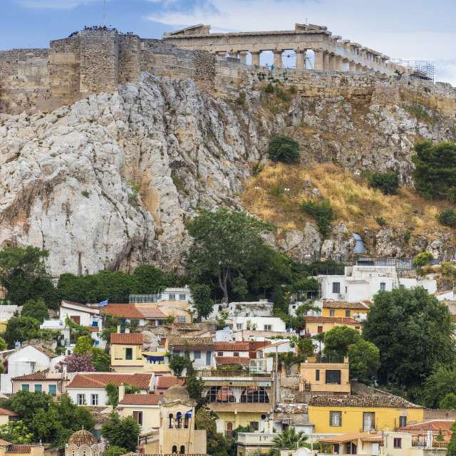 """Greece, Attica, Athens, View of Plaka and The Acropolis"" stock image"
