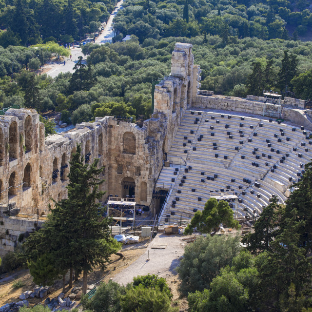 """Greece, Attica, Athens, The Odeon of Herodes Atticus - known as the Herodeon"" stock image"
