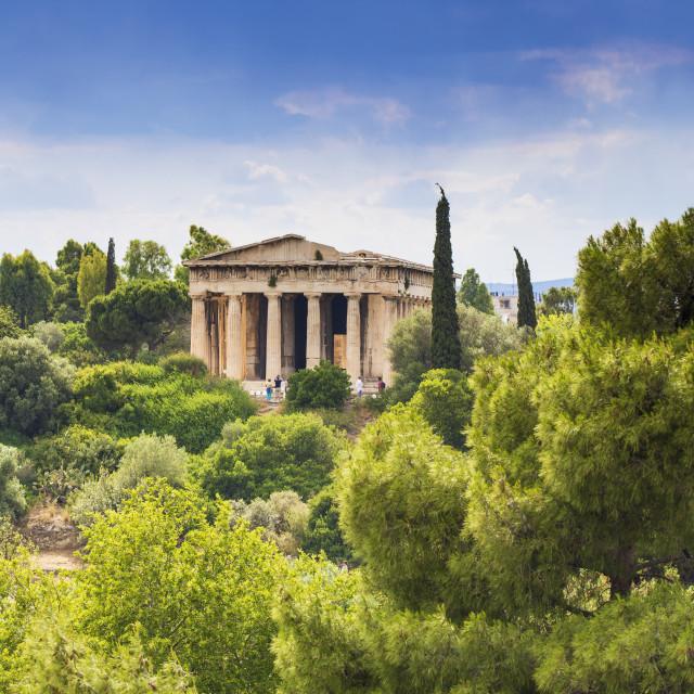 """Greece, Attica, Athens, View of The Agora, Temple of Hephaestus"" stock image"
