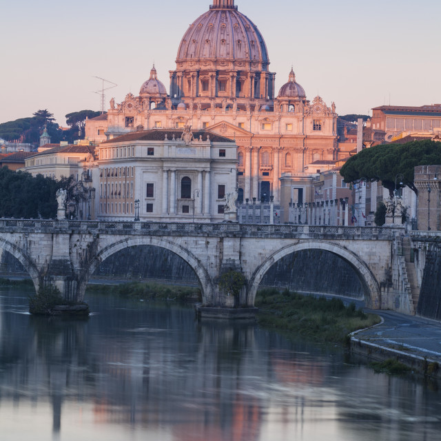 """Italy, Lazio, Rome, View of St. Angelo bridge and St. Peter's Basilica"" stock image"