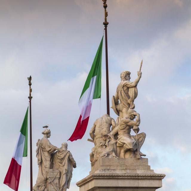 """Italy, Lazio, Rome, Statues at Vittorio Emanuele II Monument"" stock image"
