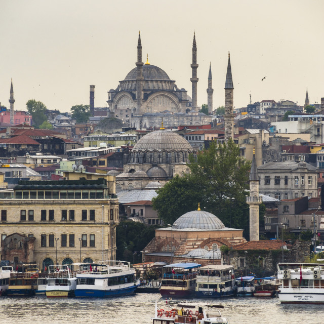 """Cruise on the Golden Horn with Mosque behind, Istanbul, Turkey"" stock image"