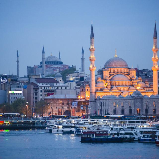 """New Mosque (Yeni Cami) at night with Hagia Sophia (Aya Sofya) behind seen..."" stock image"