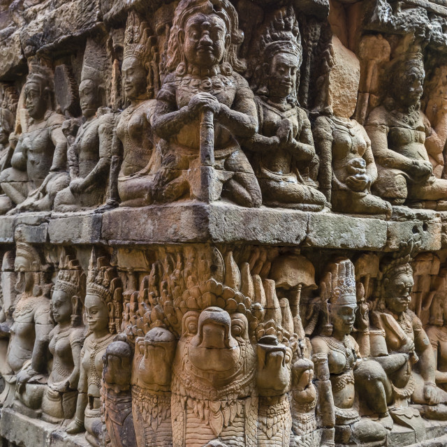 """Apsara carvings in the Leper King Terrace in Angkor Thom, Angkor, UNESCO..."" stock image"