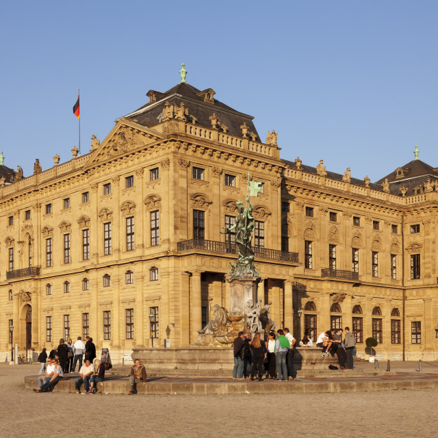 """Residenz, Baroque Palace, built by Balthasar Neumann, Franconia Fountain,..."" stock image"