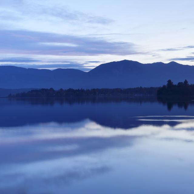 """Staffelsee Lake at sunset, Upper Bavaria, Bavarian Alps, Bavaria, Germany,..."" stock image"