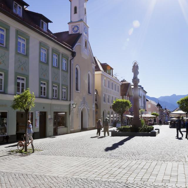 """Untermarkt marketplace, Maria Hilf Church,, Murnau am Staffelsee, Blaues..."" stock image"