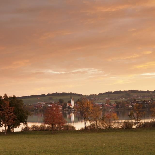 """Sunrise at Riegsee Lake with Riegsee Village, Pfaffenwinkel, Blaues Land,..."" stock image"
