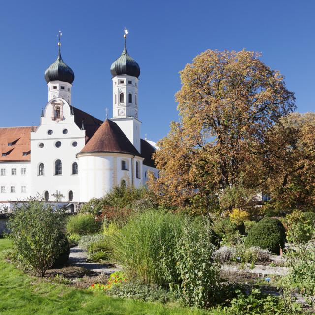 """""""Benedictine Abbey and church, Benediktbeuren, Bad Toelz Wolfratshausen, Upper..."""" stock image"""