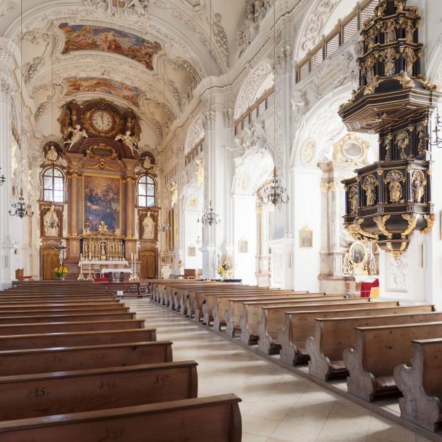 """""""Church of Benedictine Abbey, Benediktbeuren, Bad Toelz Wolfratshausen, Upper..."""" stock image"""