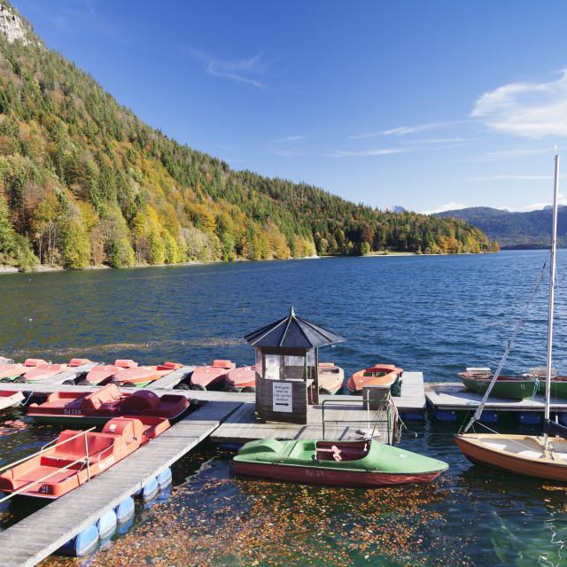 """Boat hire, Walchensee Lake, Bavarian Alps, Upper Bavaria, Bavaria, Germany,..."" stock image"