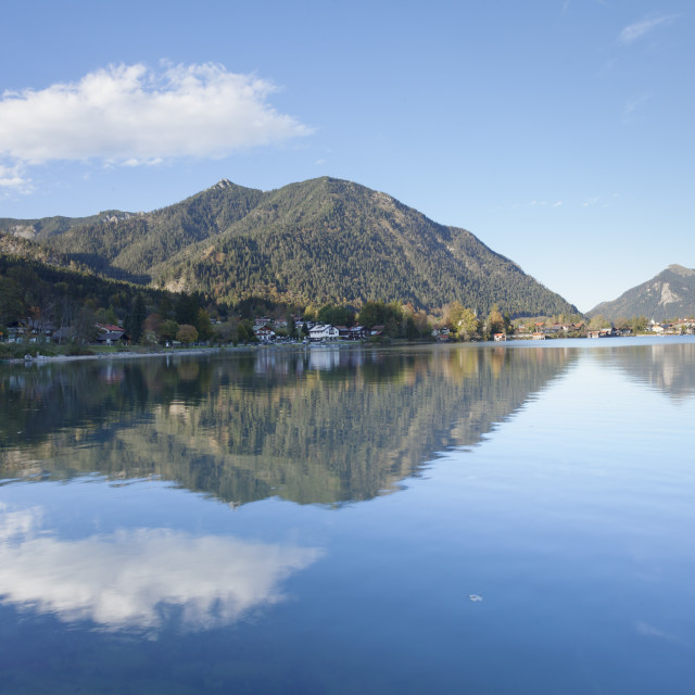"""Walchensee Village, Jochberg Mountain and Herzogstand Mountain reflecting in..."" stock image"