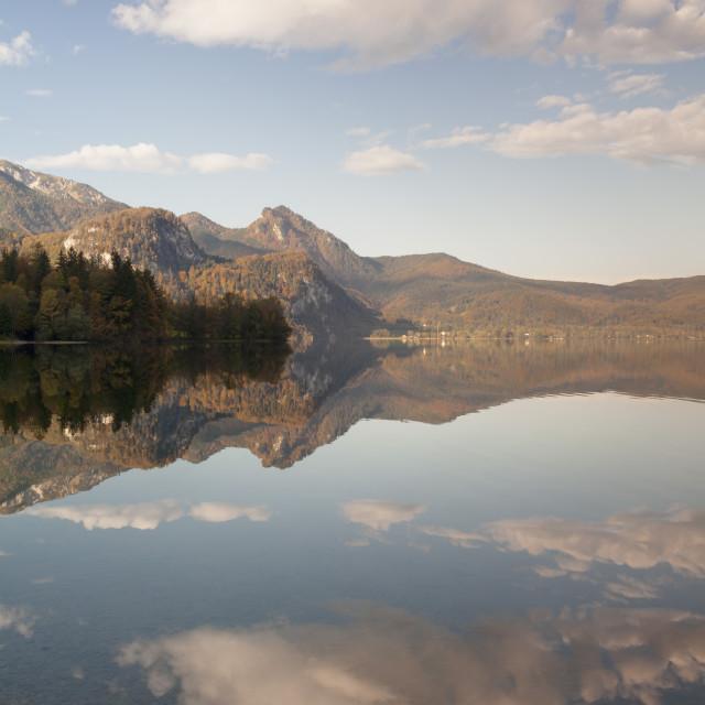 """Herzogstand Mountain, Heimgarten Mountain reflecting in Kochelsee Lake,..."" stock image"